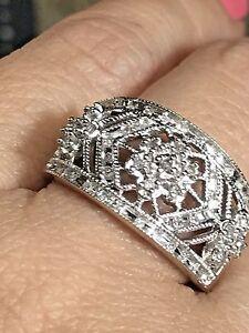 GOLD Ring Band 14k White manmad Diamond Engagement Wedding 7 5 6 8 9
