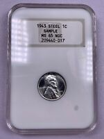 1943 NGC MS65 Lincoln Steel Wheat Cent Sample Slab Old Holder