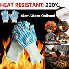 Pair Silicone Extreme Heat Resistant Cooking Oven Mitt BBQ Hot Grilling US Stock