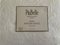 PIU BELLE  made in Portugal White 100%  Cotton Matelasse Full/Queen Coverlet NWT