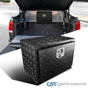 "24"" Heavy Duty Black Textured Aluminum Tool Box Trailer Storage Trunk Under Bed"