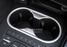 For Audi A4 B9 2016 2017 Matte Chrome Interior Water Cup Holder Frame Cover Trim