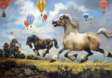 Ponies Balloon Norman Thelwell Horse Nursery Children Quality Canvas Print Large