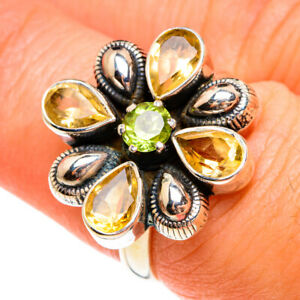 Citrine, Peridot 925 Sterling Silver Ring Size 7 Ana Co Jewelry R77794F