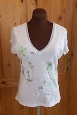 PER UNA ivory off-white green floral split short sleeve tunic t-shirt top 12-14