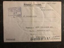 1943 Germany POW Camp Cover Luft Stalag 3 RCAF Prisoner of War D Morrison Canada