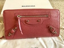 NIB Authentic Balenciaga pink zip around leather wallet