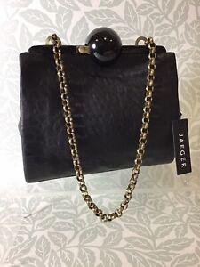 JAEGER Black Soft Leather Evening Bag BNWT