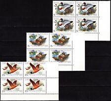 RUSSIA/USSR 1989 FAUNA: Birds / Ducks. CORNER Blocks of 4v, MNH