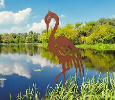 Edelrost Kranich klein Dekoration Garten Teich Vogel Metall Rost Deko Figur Deko