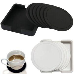 Silicone Rubber Coasters Black Non Slip Round for  Coffee Mugs Drinks Pad
