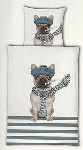 Renforce Bettwäsche Mops Hund 135 x 200 cm Baumwolle m. Reißverschluss
