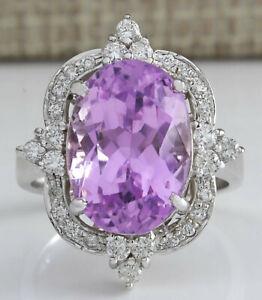 11.59 Carat Natural Kunzite 14K Solid White Gold Luxury Diamond Ring