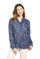 Lands' End NWT Women's Petite Size Brush Rayon Collared Shirt Blue Floral MSR$60