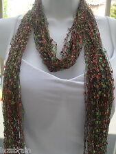 Handmade Ladder Ribbon Necklace Scarf Scarves Autumn Leaf 2 piece scarf  Set
