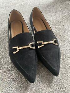 Asos Pointed Toe Flat Shoes With Gold Buckle Detail UK7