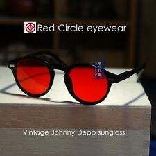 Vintage Johnny Depp sunglasses round mens eyeglass black frame red lens suniess