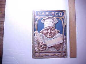 1910 ANTIQUE SMALL CARDBOARD COUNTER WINDOW SIGN NABISCO SUGAR WAFERS VG+