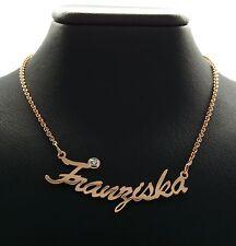 Rose Vergoldete Zirkonia Namenskette 925 Silber Kette mit Wunschname Gravur
