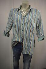 ERFO Stretch  Bluse Hemd 46 Grün-Weiß-Blau Gestreift Klassisch 3/4 Arm TOP