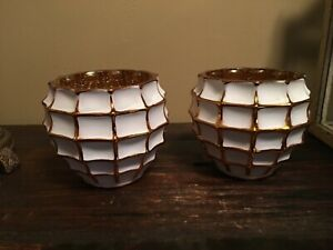 Fifth Avenue Crystal Hive White & Gold Succulents Plant Pots / Votives Lot of 2