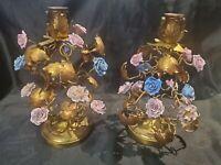 Antique French Gilt Gold Porcelain Roses Florentine Toleware Candlestick Holders