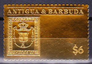 RAREST STAMPS IN THE WORLD- ITALY ON ANTIGUA &BARBUDA 24 CARAT GOLD FOIL