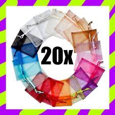 20x SACCHETTINI ORGANZA 7x9cm bomboniere confetti regali gioielli faidate bijoux