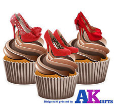 PRECUT Sexy Red Shoes High Heels 12 Edible Cupcake Toppers Decorations Birthdays