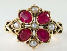 DIVINE 9K 9CT GOLD VINTAGE INS INDIAN RUBY & SEED PEARL CLOVER RING FREE RESIZE