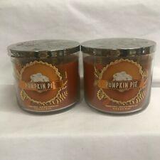 Bath & Body Works (2) PUMPKIN PIE 3 Wick 14.5 oz Jar Candles