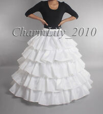 WHITE 4 hoop wedding petticoat underskirt crinoline prom dress bridal slip skirt