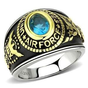 United States Air Force Military Stainless Steel Unisex Sea Blue Ring Size 5-13