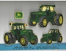 JOHN DEERE FABRIC iron on appliques 4 pcs farm tractors logo HANDMADE iron-ons
