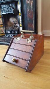 Vintage Antique Ornate Wood & Brass Coal Scuttle Purdonium Box + Shovel
