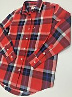 LEVI'S LINEN COTTON BOYFRIEND FIT SHIRT RED BLOCK CHECK