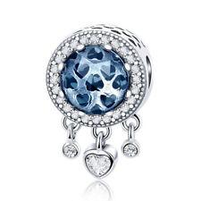 European 925 Silver Blue CZ Charm Beads Dangle Heart Fit Necklace Bracelet Chain