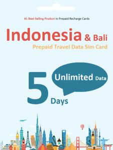 5 days Indonesia Bali Unlimited Data Travel SIM card 4G Indosat Network