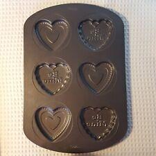 "Wilton Heart ""Be Mine"" Valentine Cookie Pan Makes 6 Cookies Non-Stick"