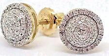 Mens Ladies 10K Yellow Gold 3D Circle Real Diamonds Domed Stud Earrings 0.25 Ct