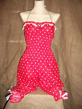 Red/white polka dot all-in-one,jumpsuit,cherry!Pin-up!1950's,vintage,rockabilly