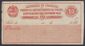 Colombia Cubierta Certificacion con contenido 10c red unused 1880s