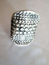 Hammered pewter silver tone saddle Ring Tribal Adjustable band