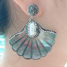 Natural Carved Black Shell White Biwa Pearl Stud Earrings