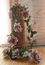 Rosengirlande grau ca.250 cm  Blüte ca. 12 cm Kunstblumen