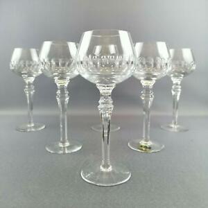 6 Weingläser, Bleiskristall, Römer, Lausitzer Glaswerke, geschliffen
