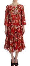 NWT $18000 DOLCE & GABBANA Red Floral Print Silk Maxi Runway Dress IT42/US8/ M