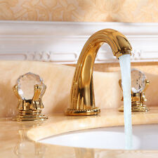 Ti-Gold 8 inch widespread bathroom Lavatory Sink faucet crystal handle free ship