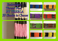 24 Skeins Embroidery Cross Stitch Thread Floss By TREBLA - ( Choose ur Colour )