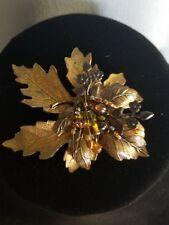 VINTAGE CARA STIMMEL ltd. Copper LEAF BROOCH with stones